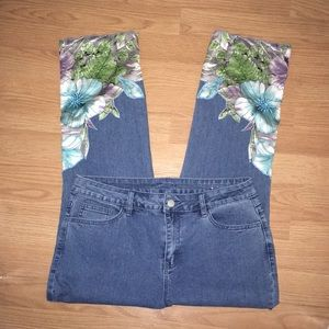 Soft Surroundings Cropped Jeans w/ Satin Beading
